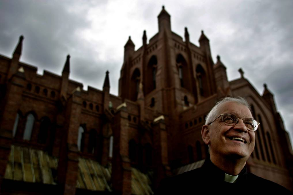 Arrested: Former Newcastle Anglican Dean Graeme Lawrence in 2008 after announcing his retirement. He was defrocked in 2012 and charged with child sex offences on Tuesday.